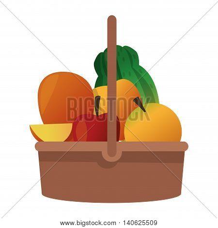 flat design fruit basket icon vector illustration