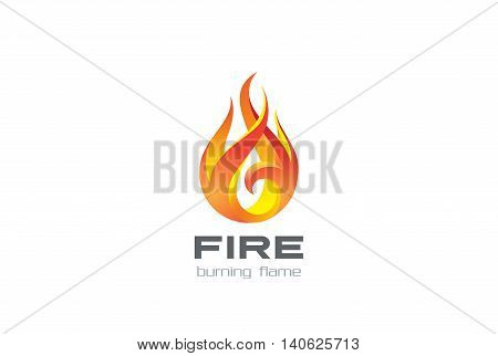 Fire Flame Logo design vector Burning fireball Logotype icon