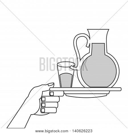 flat design glass pitcher and cup with liquid on plate icon vector illustration