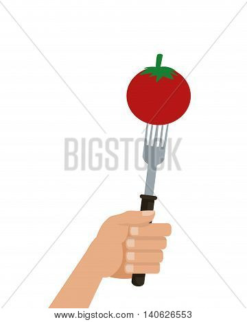 flat design tomato on fork icon vector illustration