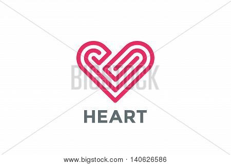 Heart Logo design vector. Love Valentines Day Linear icon