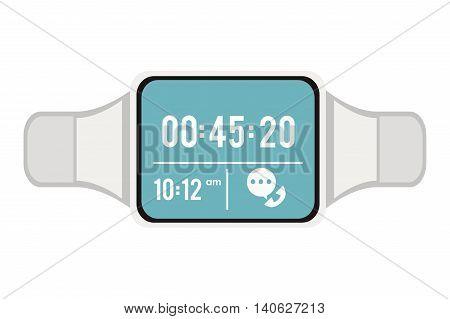 flat design smart watch icon vector illustration