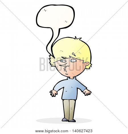 cartoon suspicious man looking over shoulder with speech bubble