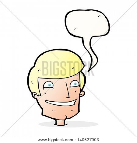 cartoon grinning man with speech bubble poster