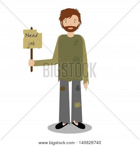 Homeless man begging for job. Vector illustration of beggar character