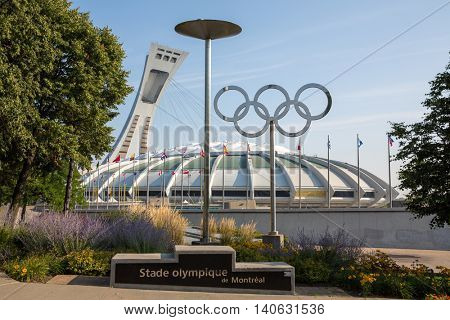 MONTREAL CANADA - SEPT 05 2014:  the iconic Montreal Olympic Stadium.  Montreal hosted the summer Olympics in 1976, the first games to be held in Canada.