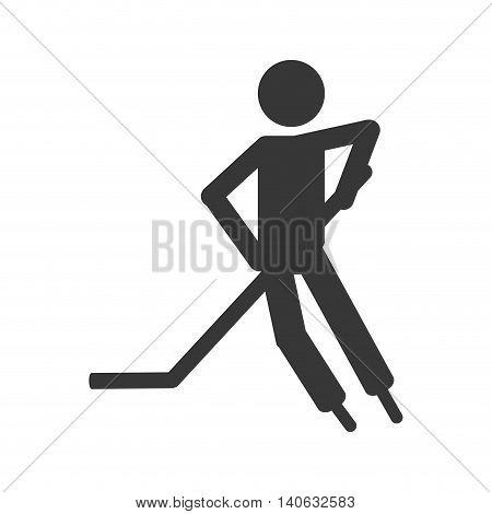 flat design hockey player icon vector illustration