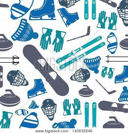 flat design winter sports pattern icon vector illustration