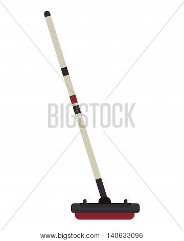 flat design curling broom icon vector illustration