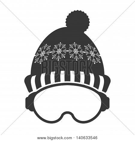 flat design ski mask and hat icon vector illustration