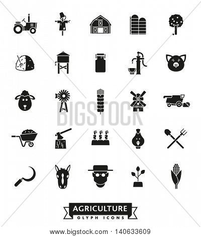 Solid black farming and agriculture vector icons collection