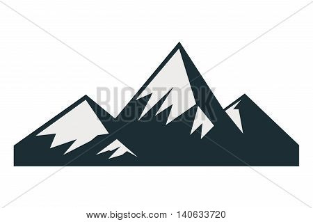flat design snowy mountains icon vector illustration