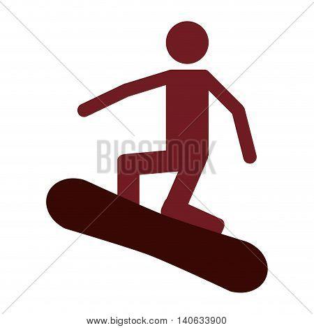 flat design snowboarding pictogram icon vector illustration