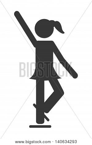 flat design ice skating pictogram icon vector illustration