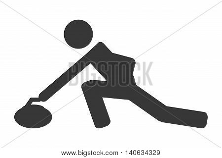flat design curling pictogram icon vector illustration