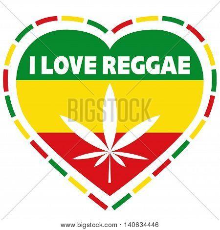 Rasta logo in rastafarian colours, heart shape with marijuana leaf