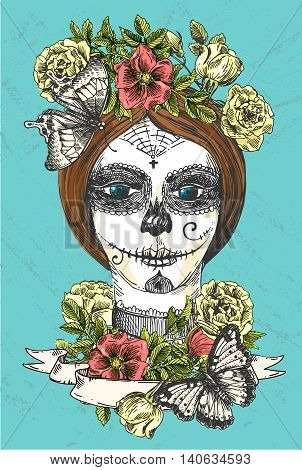 Head of  girl with day of the dead make up. Beautiful hand drawn vector  illustration. Ink painting. Design element useful for print for t-shirt, poster, posstcard