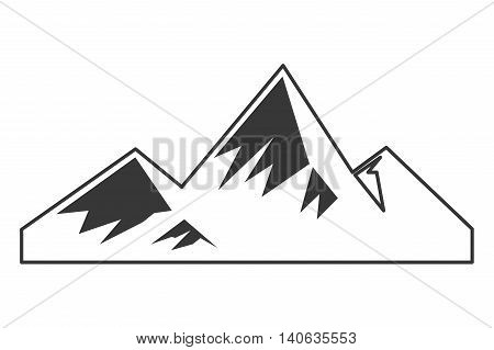 flat design snowy mountains icon vector illustration
