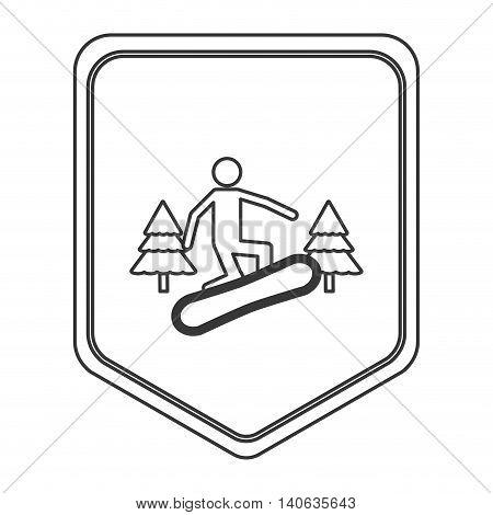 flat design snowboarding pictogram icon vector illustration shield emblem