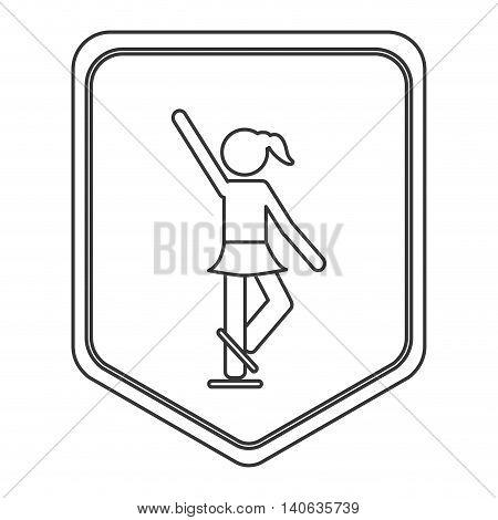 flat design ice skating pictogram icon vector illustration shield emblem