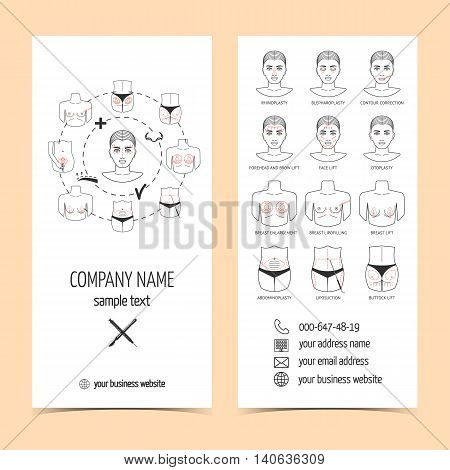Set of flyer brochure for plastic surgery clinic with line icons. Set of promotional products. Flat design. Vector illustration