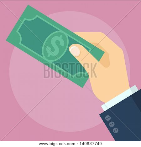 Dollar banknote in the hand giving a cache. Flat design vector concept.