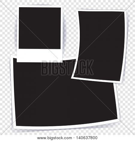 Various shape blank paper photo frames with empty space for your images and photography. Vector photo prints template set.