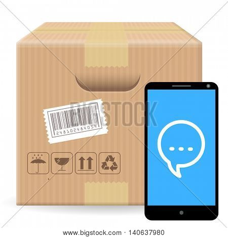 Brown closed carton parcel packaging box with fragile signs  isolated on white background with gadget and comment icon. Vector icon template for shipping and delivery feedback and tracking data.