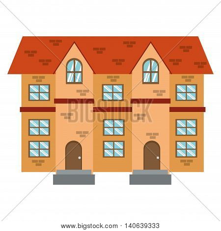 flat design single brick building icon vector illustration