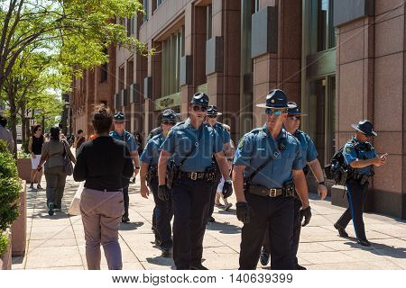 CLEVELAND OH - JULY 20 2016: Missouri state patrolmen are part of the multistate contingent of security forces keeping the peace during the Republican National Convention.