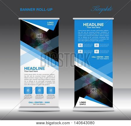Blue Roll Up Banner template vector standy design display advertisement flyer for corporate business
