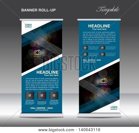 Blue Roll Up Banner template vector standy design display advertisement flyer for corporate