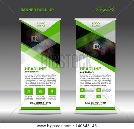 Green Roll Up Banner template vector standy design display advertisement flyer for corporate