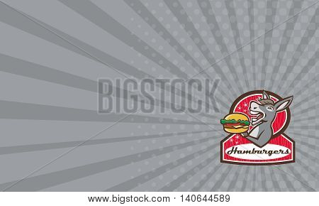 Business card showing illustration of a donkey ass mule or horse mascot serving up a hamburger burger sandwich set inside oval shape with words Hamburgers done in 1950s retro diner style viewed from the side done in retro style.