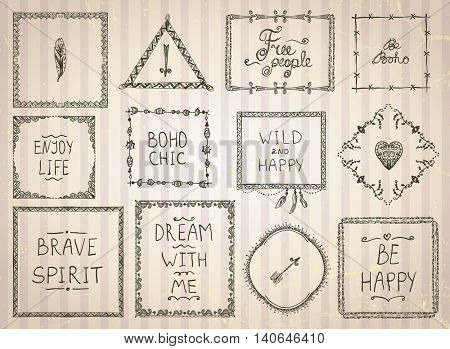Fashion hand drawn sketch frames and philosophy quote phrases mega set in boho style, hippie, indie style, vector illustration