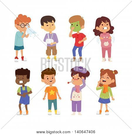 Sick children vector set.
