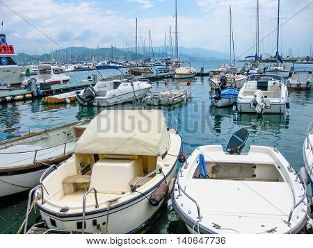 Portovenere, La Spezia, Italy - June 3, 2010: close up of boats and speedboats in the Gulf of Poets in Porto Venere, Cinque Terre National Park, Unesco Heritage.