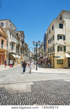 CORFU GREECE - June 11 2016. People walking in the streets of island