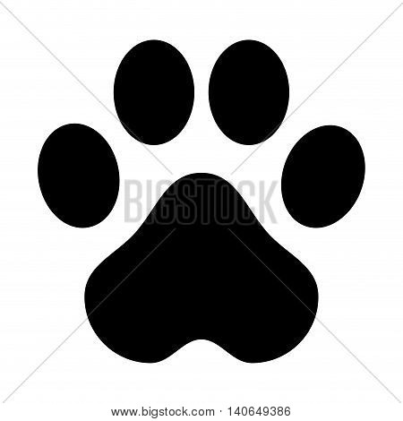 flat design paw print icon vector illustration
