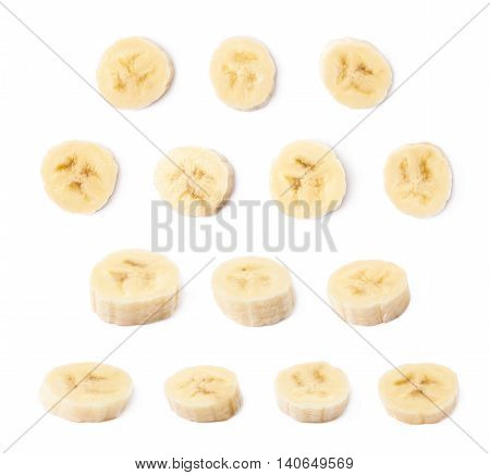 Banana slice isolated over the white background, set of multiple different foreshortenings