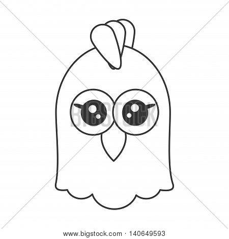 flat design cute chicken cartoon icon vector illustration