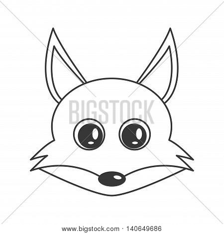 flat design cute fox cartoon icon vector illustration