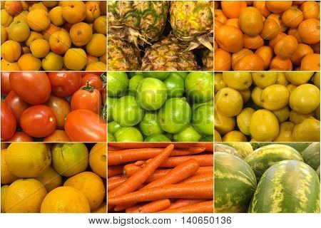 collage of colorful fruits and vegetables background