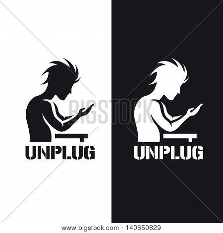 Silhouette of a man staring at his phone. Motivational poster with word unplug. Monochrome stencil vintage vector illustration.
