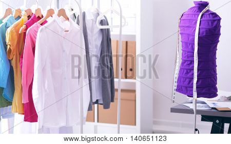 work place with sew manikins, isolated on white