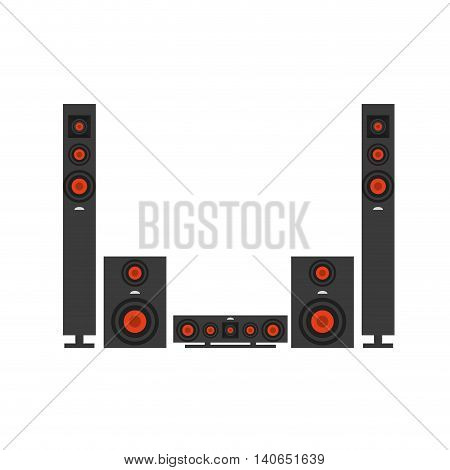 flat design stereo system icon vector illustration