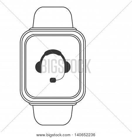 flat design smart watch with headgear on screen icon vector illustration