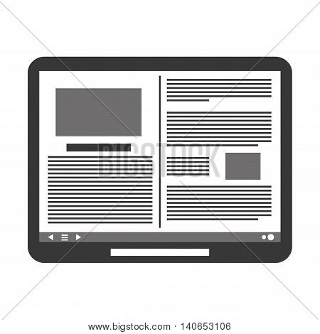 flat design tablet with document on screen icon vector illustration