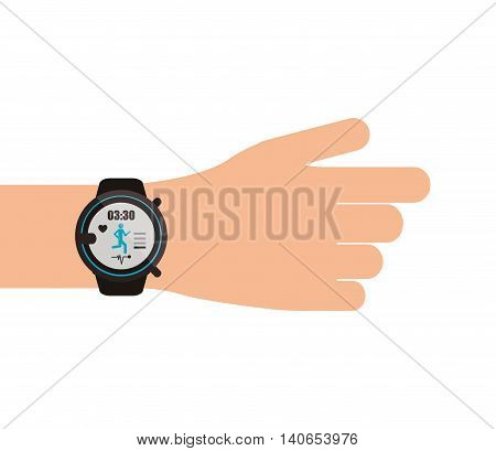 flat design heartrate wrist tracker on hand icon vector illustration