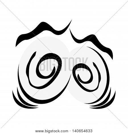 flat design traumatized cartoon eyes icon vector illustration